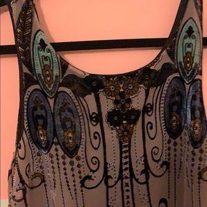 Low back velour mesh dress